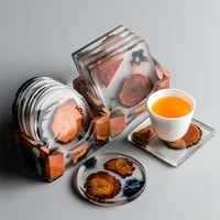 creative resin pine coasters heat resistant placemats drink mat tea coffee cup pad waterproof non slip table decor tableware pad