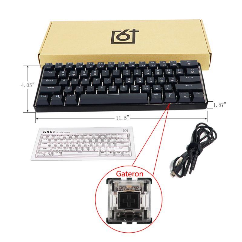 Teclado mecánico con cable RGB retroiluminado con LED, Mini teclado portátil resistente al agua y compacto para juegos, interruptores Gateron de 61 teclas para PC Mac