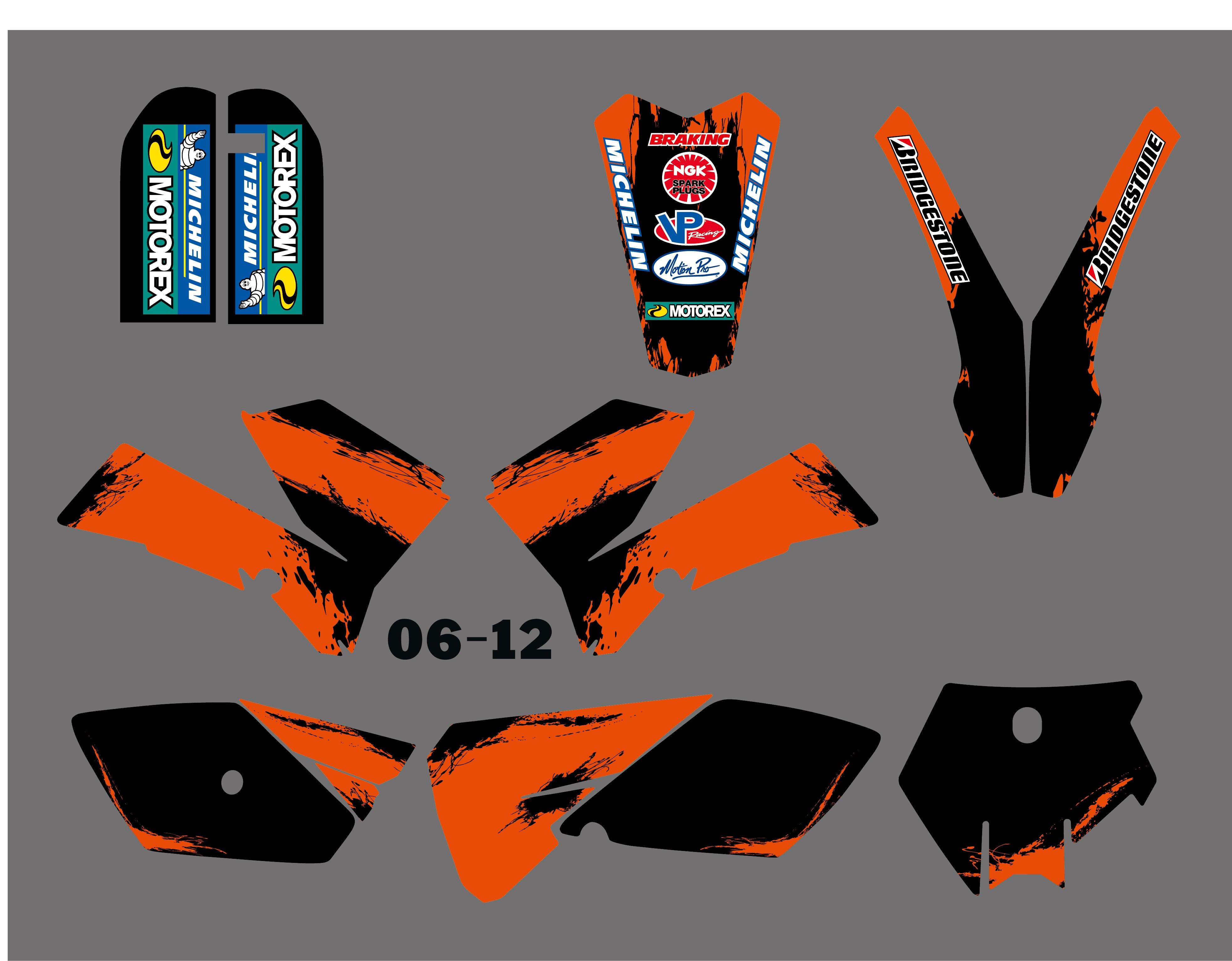 H2CNC الرسومات و خلفية صائق ملصقا أطقم صالح لل KTM SX 85 SX85 2006 2007 2008 2009 2010 2011 2012