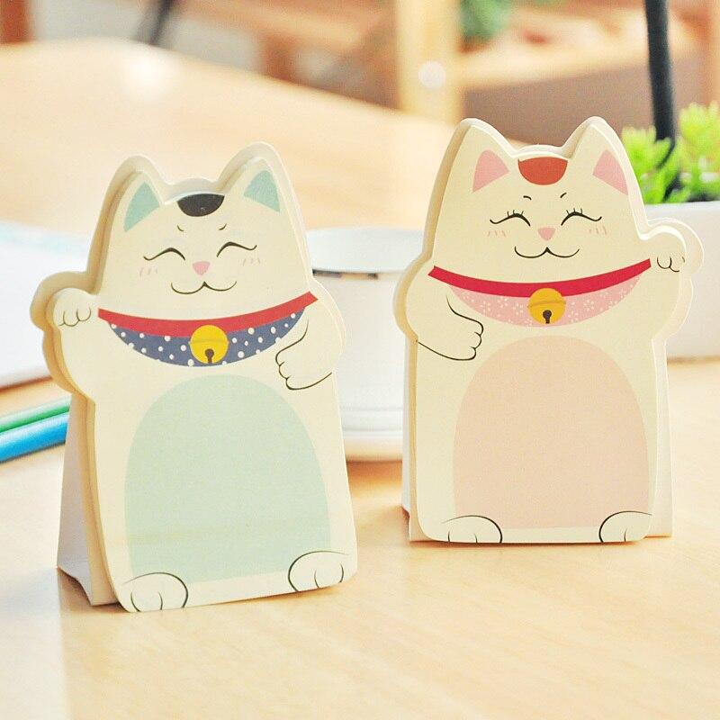 Lovely Kawaii Lucky Cat Stand Memo Pads Paper Stick Message Sticker Stationery Bookmark Sticky Notes Office Supply Stick