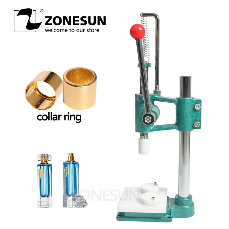 ZONESUN-آلة تغضين زجاجات العطور ، آلة ضغط حلقة طوق العطور