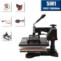 5IN1 Heat Press 30x38cm Swing Away Heat Press Machines 12x15inch for T-shirt Cup