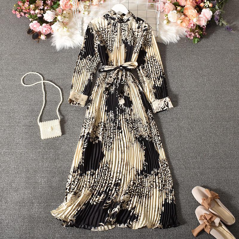 AliExpress - Vintage Long Dress Popular Full Sleeve 2021 Spring Fall New Loose A-Line Printed Leopard Pleated Women Dress Elegant Robe y1470