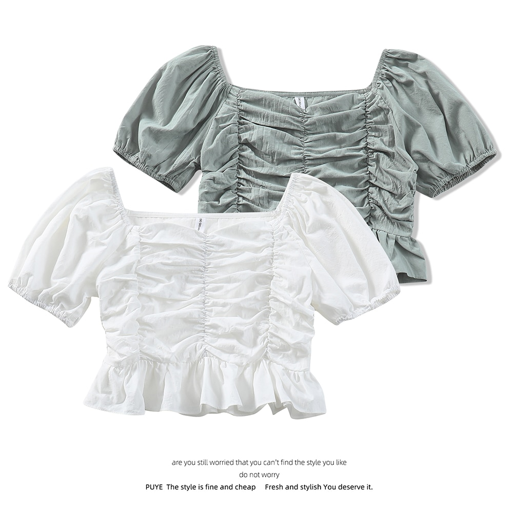 Chiffon Shirt Summer New BM Style Short Navel-Exposed Niche Pleating Ruffled Square Collar Short Sleeve Shirt Women's Top