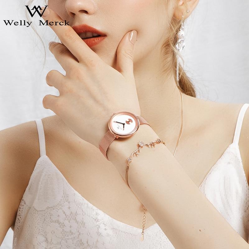 Welly Merck Luxury Brand Watches for Women Swiss Quartz Movement Waterproof Stainless Steel Case Ladies Relogio Feminino enlarge