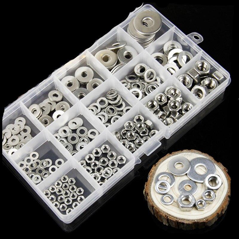 Conjunto de parafusos para móveis, 270 pçs/set m3 m4 m5 m6 m8 304, aço inoxidável, porcas hexagonais e arruelas lisas, parafusos, soquete, móveis kit de parafusos