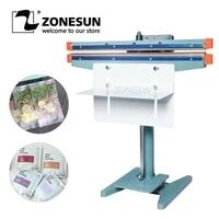 zonesun pneumatic foot pedal heat sealing machine for drywet aluminum foil plastic bag heating sealer food beverage machinery