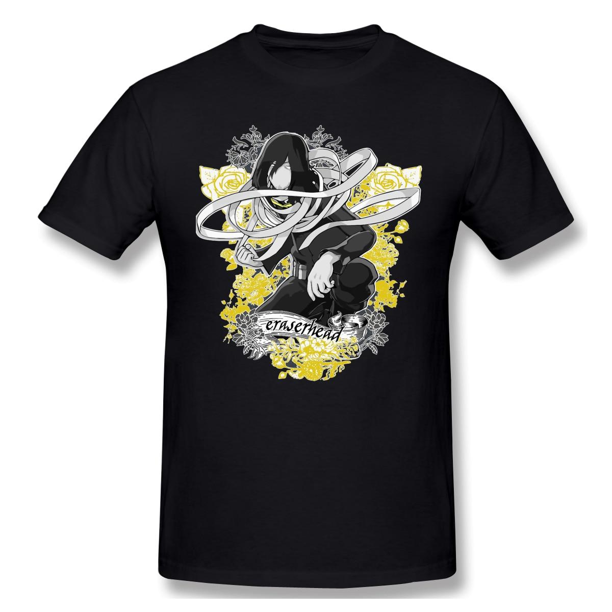 "Nuevo verano T camisa ""Cabeza borradora"" flor héroe Aizawa Shota Academia Camiseta 100% algodón Bakugo Katsuki Tee camisa Camiseta básica"