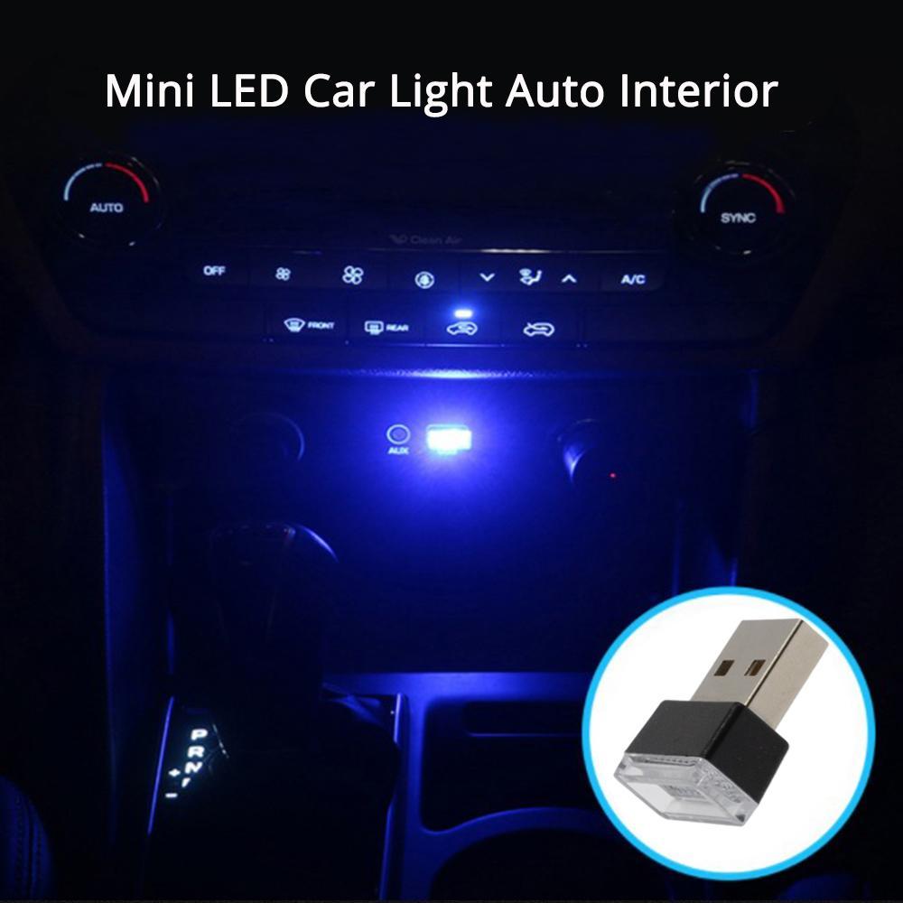 Купить с кэшбэком 1X Car USB LED Play Pink Red Blue White Led Atmosphere Lights Dome Decorative Lamp Emergency Lighting Universal PC Portable Plug