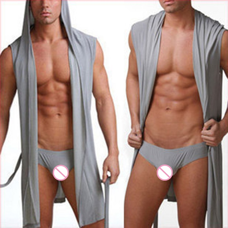 Hot Sell Men Bathrobe Sexy Pajamas Nightwear Nightgown Sleepwear Hombre Hooded Bath Robe Men Bathing Gown Plus Size