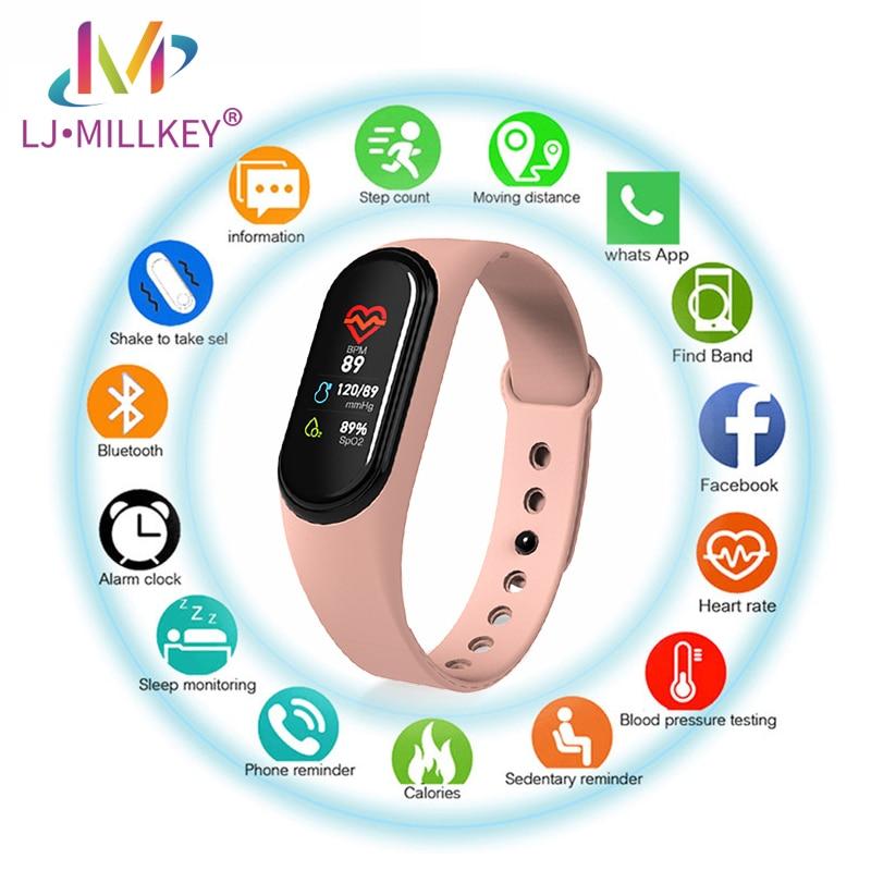 Reloj inteligente deportivo M4/M5, reloj inteligente con presión arterial, Monitor de ritmo cardíaco, pulsera deportiva para hombres y mujeres con cargador