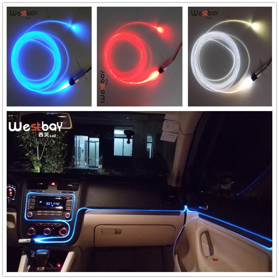 Westbay 3 Вт светодиодный волоконно-оптический светильник, двигатель 3,0 мм, боковой светящийся оптический Волоконно-оптический светодиодный светильник для украшения автомобиля, автомобильный светильник