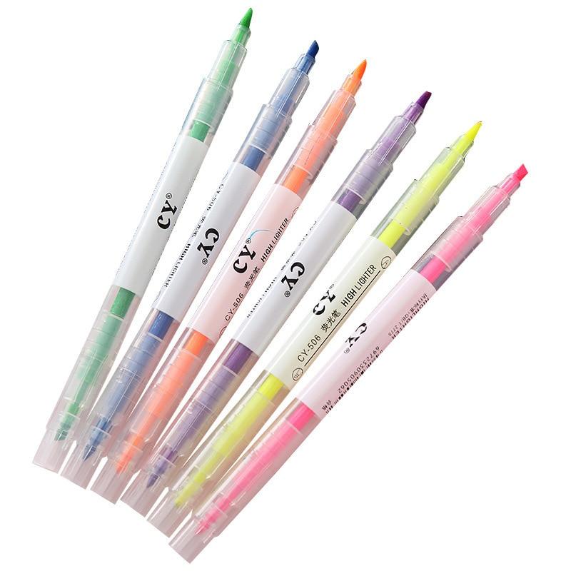 Juego de 6 unidades de bolígrafo Kawaii de papelería, rotuladores, pinceles de grafiti para el colegio, bolígrafos bonitos de doble cabezal, accesorios de oficina, canetas