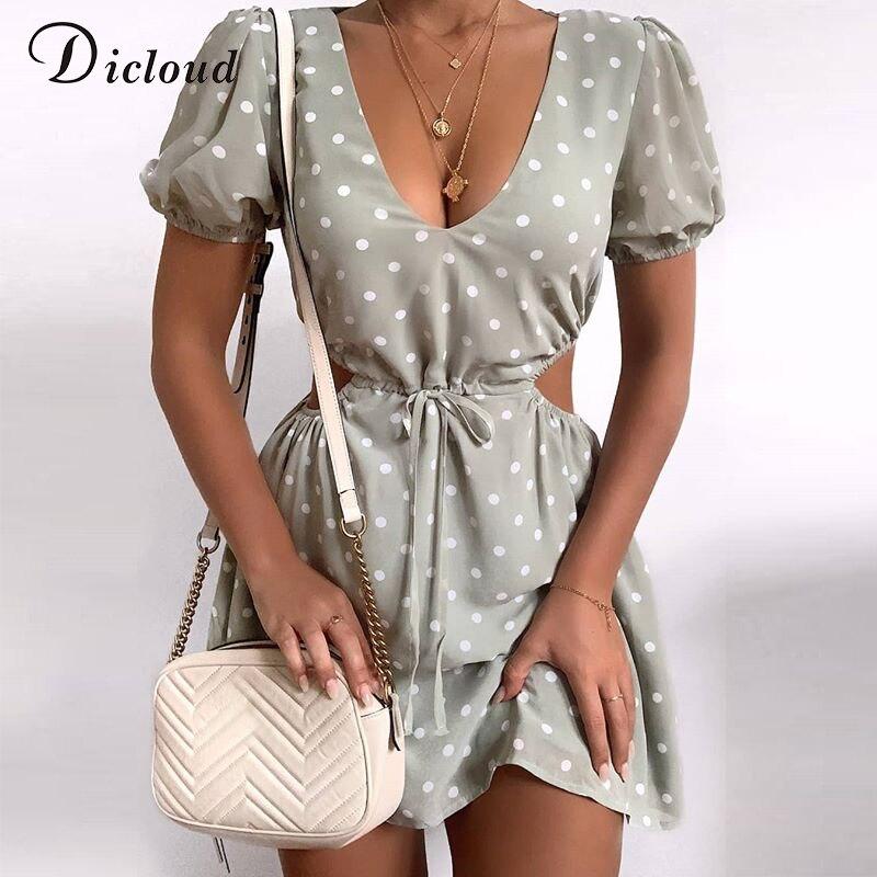 DICLOUD Polka Dot Grün Sommer Kleid Chiffon Sexy Aushöhlen Kordelzug Taille Mini Tag Kleid Party Urlaub Outfit 2020 Mode