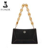 foxer brand ladies cowhide portable messenger bag high quality summer shoulder bag fashion all match acrylic chain messenger bag