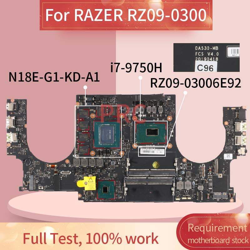 RZ09-03006E92-R3U1 ل الماسح RZ09-0300 I7-9750H Naptop اللوحة DA530-MB SRF6U N18E-G1-KD-A1 DDR4 مفكرة اللوحة