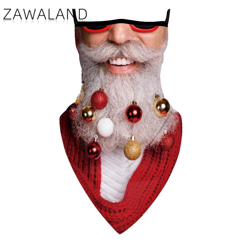 Zawaland Breathable Triangular Scarf Fashion Outdoor Christmas Party Print Bandana Multifunctional Reusable Unisex Neck Scarves