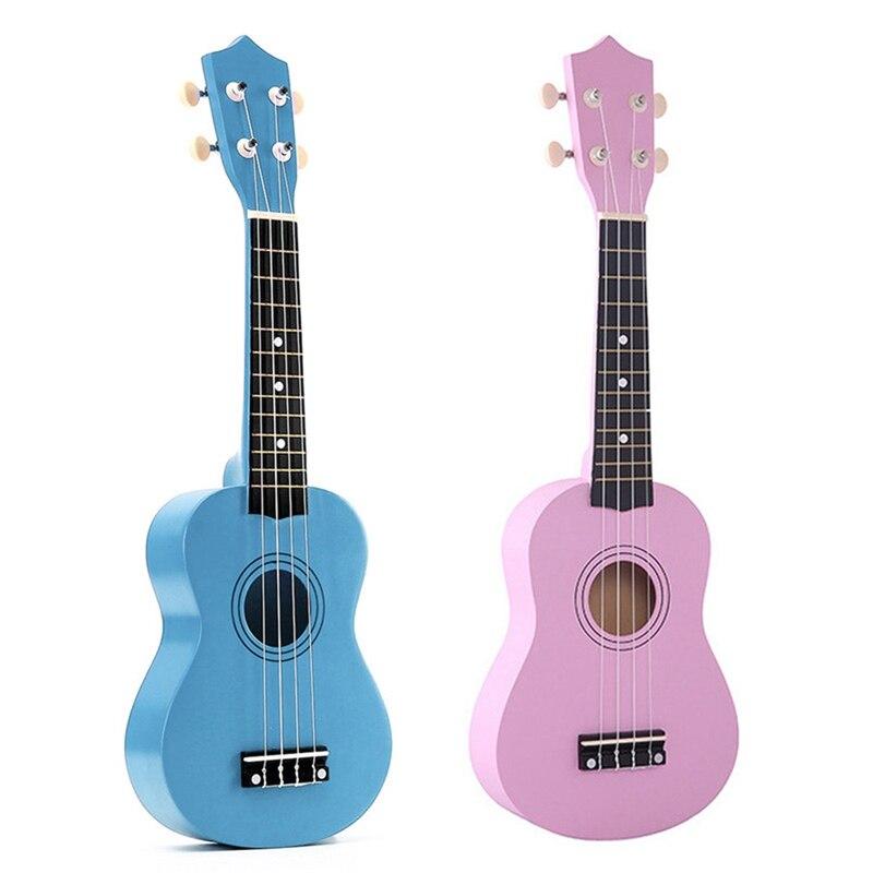 2Pcs 21 Inch Soprano Ukulele 4 Strings Hawaiian Guitar Uke + String + Pick for Beginners Kid Gift(Light Blue&Pink)