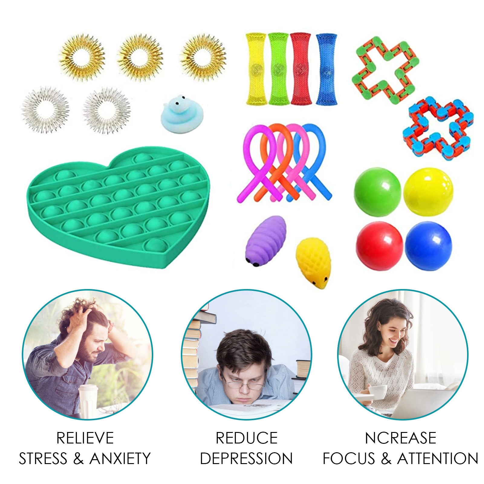 Fidget Sensory Antistress Toy Sensory Fidget Toys Set Relieve Stress Toy For Kids Adults Stress Relief Toys Push Popit In Stock enlarge