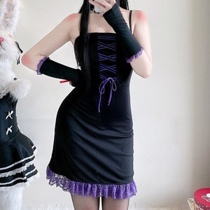 Gothic Sling Lace Splicing Color Contrast Women's Dress 2021 Summer New Fashion Trend Bandage Sleeve Buttocks Dress