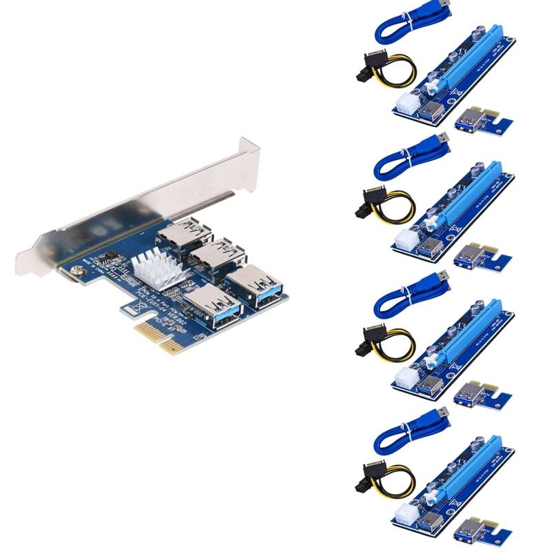 PCI-E 1 إلى 4 USB3.0 بطاقة التوسع 4Xpcie 1X إلى 16X 6Pin بطاقة صورة توسيع مهائي كابلات مجموعة من البطاقات للتعدين Btc