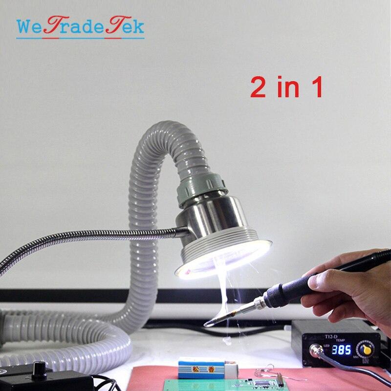 Extractor de humos de luz LED absorbente de humo de soldadura ajustable TBK para reparación de teléfonos BGA herramienta de instrumentos de humo de soldadura