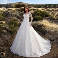 white fashion party church formal wear dresses elegant formal dress women long sleeve v neck lace floor length bride clothing