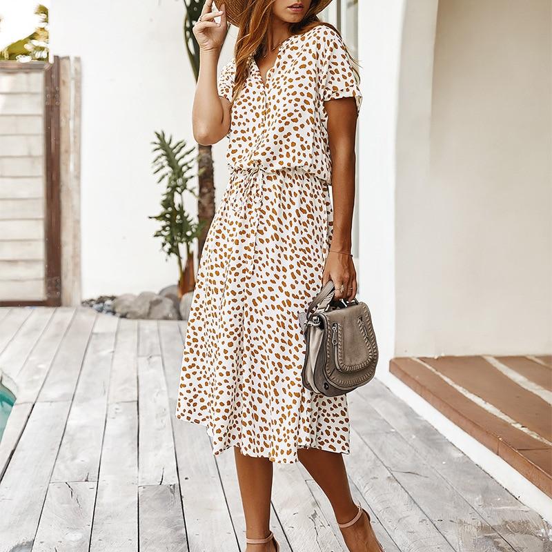 Dots Print White Summer Dress Women 2020 New Short Sleeve Tunic Vintage Midi Dress Casual Holiday Boho Beach Dress Vestidos