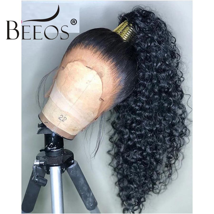 Beeos hd perucas de renda transparente preplucked 360 peruca frontal do laço invisível frente do laço perucas de cabelo humano em linha reta remy rabo de cavalo