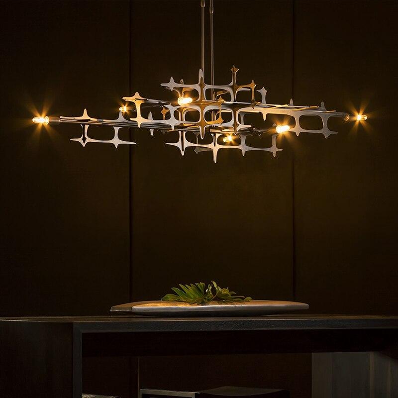 ما بعد الحداثة الفضة LED الثريا الفاخرة غرفة الطعام غرفة المعيشة ديكور تركيبات إضائة مطعم جزيرة المطبخ مصباح معلق
