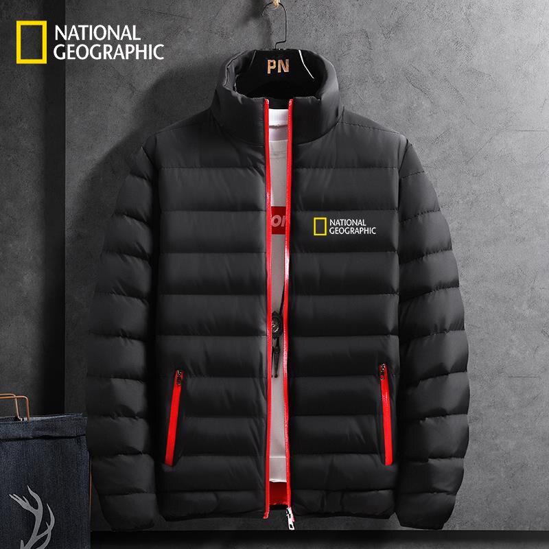 2021 الرجال العلامة التجارية الجديدة الوطنية الجغرافية اللون الشتاء سترة البريدي في الهواء الطلق مغامرة الرياضة جاكيت مبطن دافئ حجم كبير