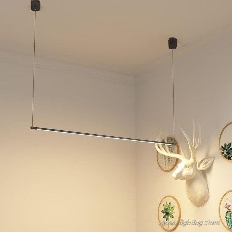 بسيطة طاولة طعام للمطاعم قطاع قلادة مصباح LED مكتب الحديثة قلادة أضواء مصمم مصابيح معلقة إضاءة ديكوريّة تركيبات