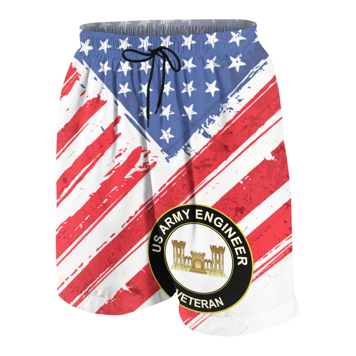 US Army Veteran Army Engineer Teenagers Comfortable Fashion Fitness Joggers Quick-dry Cool Short Sweatpants