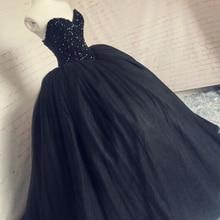 Real Black Gothic Trouwjurken Kralen Baljurk Bruidsjurken Corset Terug Lijfje Bruid Dress 2019 Robe de Mariage Casamento