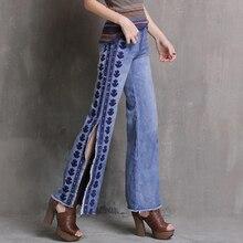 Vintage broderie jean femmes vêtements décontracté large jambe pantalon côté fendu esthétique Denim pantalon femme découpé Palazzo Harajuku