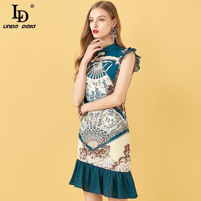 Ld linda della runway verão assimétrico sereia festa vestido curto feminino impressão do vintage 3d floral miçangas feminino magro mini vestido