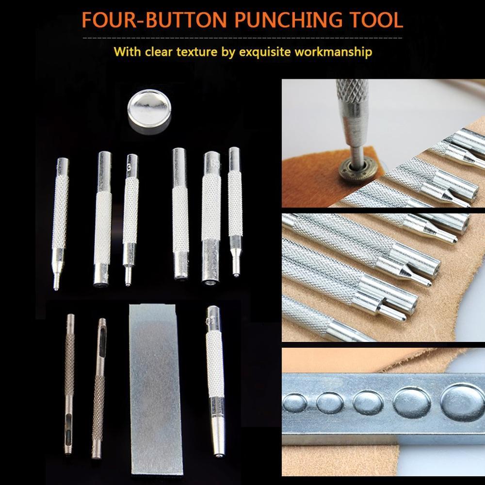 11 Uds herramienta de artesanía de cuero Metal troquelado perforador herramientas de perforación cierre de presión DIY cinturón de cuero cartera Kit de instalación remache
