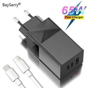 BaySerry 65W GaN Charger USB Type C PD Quick Charge 4.0 3.0 Portable Fast Charger For iPhone 12 Pro Samsung Xiaomi Laptop Tablet