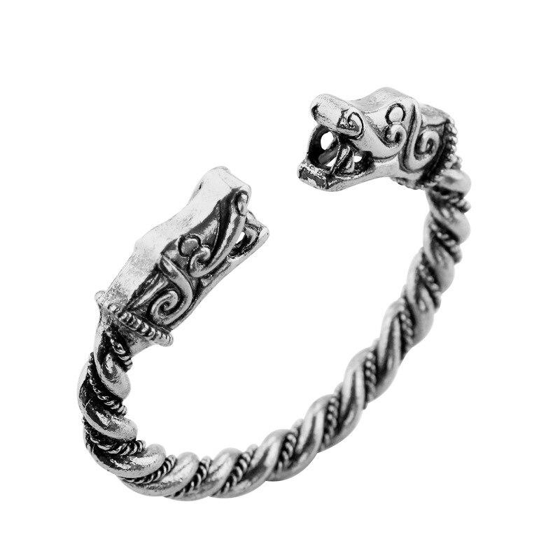 Pulsera Retro vikinga para hombres chicos cabeza de serpiente brazaletes abiertos Punk paano Cool joyería de moda amigos regalo