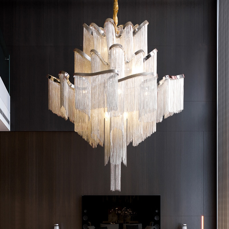 LED ما بعد الحداثة شرابة الثريا دوبلكس بناء loft شقة الثريا الإيطالية فيلا غرفة المعيشة الدرج ضوء الفاخرة