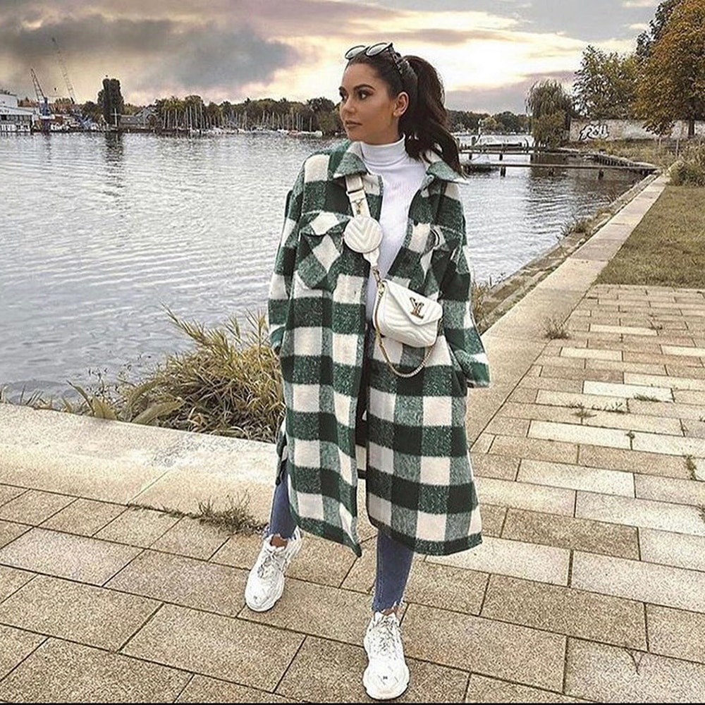 2021 New Women Oversized Coat Long Checked Casual Fashion Chic Women Jackets Long windbreaker Outfit