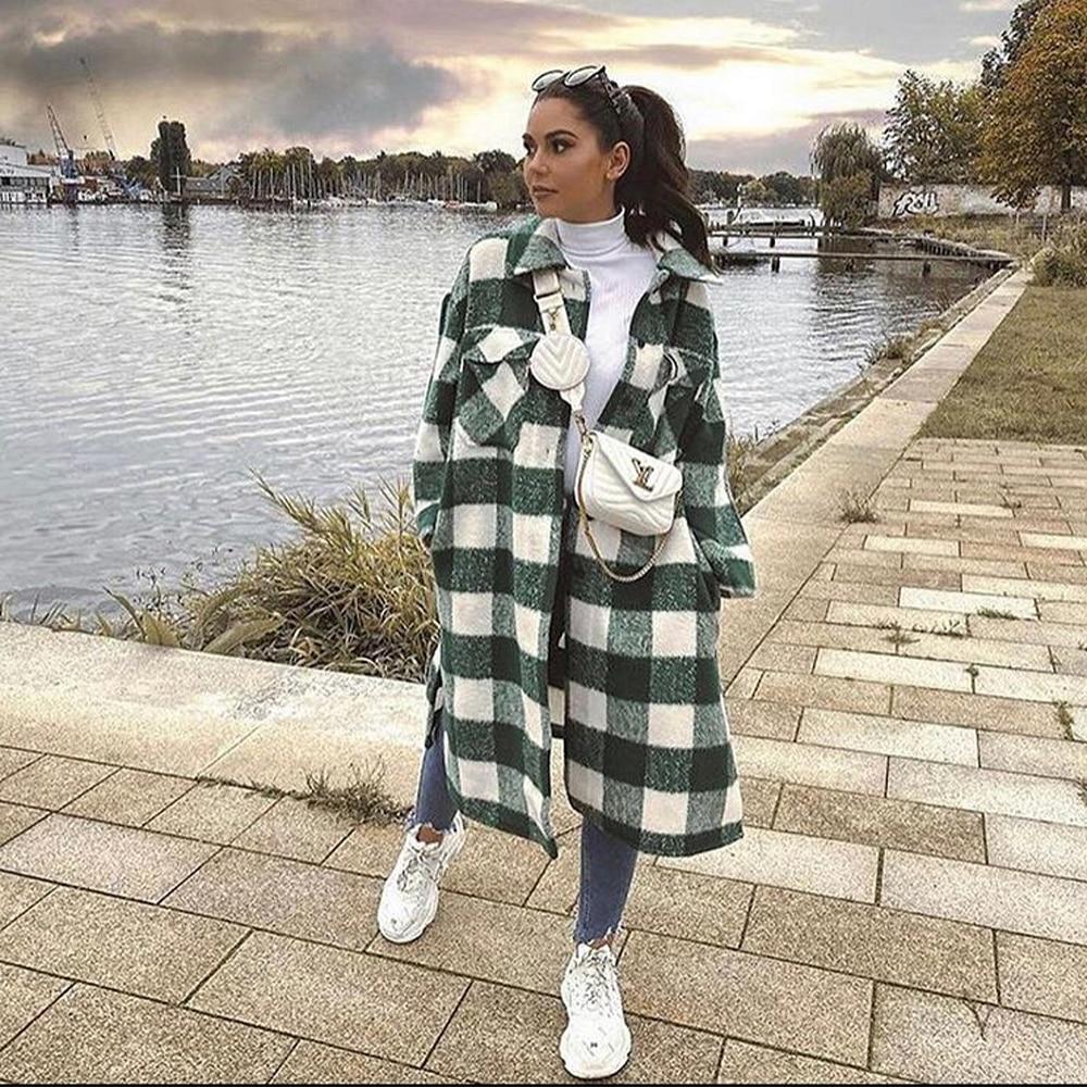 2021 New Women Oversized Coat Long Checked Casual Fashion Chic Women Jackets Long windbreaker Outfits