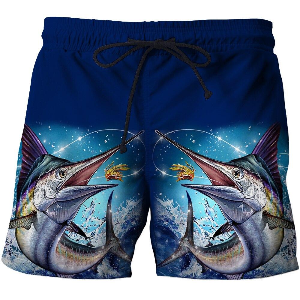 Летние пляжные шорты с 3D-принтом для рыбалки, быстросохнущие уличные мужские повседневные цветные шорты с принтом рыбы, купальник унисекс