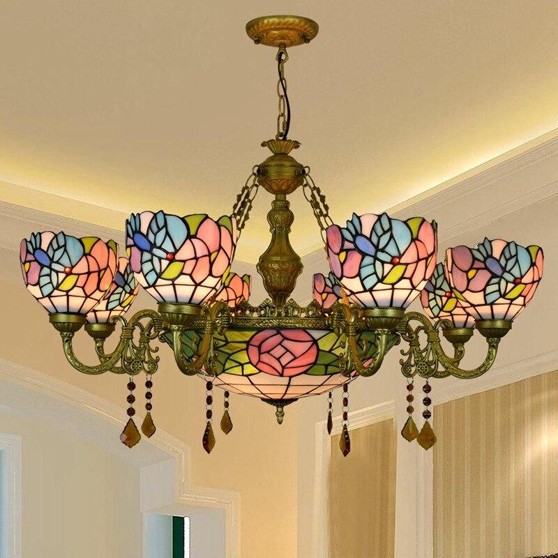 Estilo Europeo Retro creativo Tiffany de colores sala de estar restaurante Multi-cabeza cristal candelabro Bar Club pájaro Luz