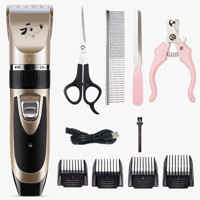 Eléctrica perro de pelo recargable aseo para mascotas, perros y gatos Clippers de bajo ruido de mascotas Máquina para cortar cabello conjunto de carga USB