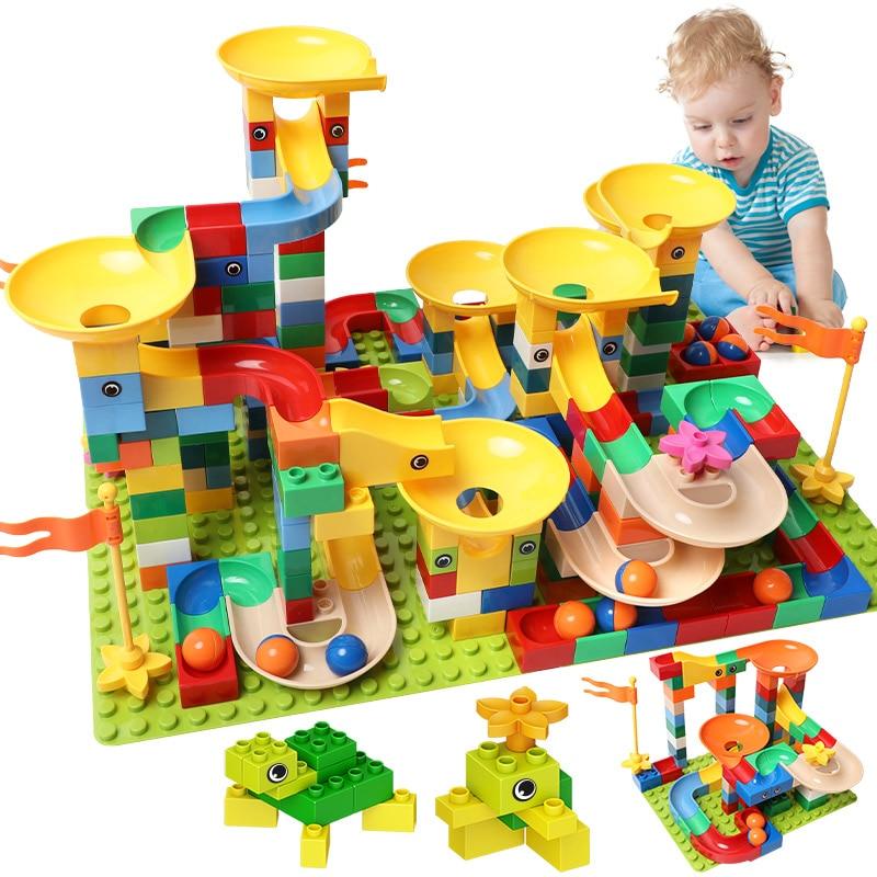 83-332PCS Marble Race Run Bricks Big Size Building Blocks Funnel Slide Blocks DIY Bricks Toys For Children Girls