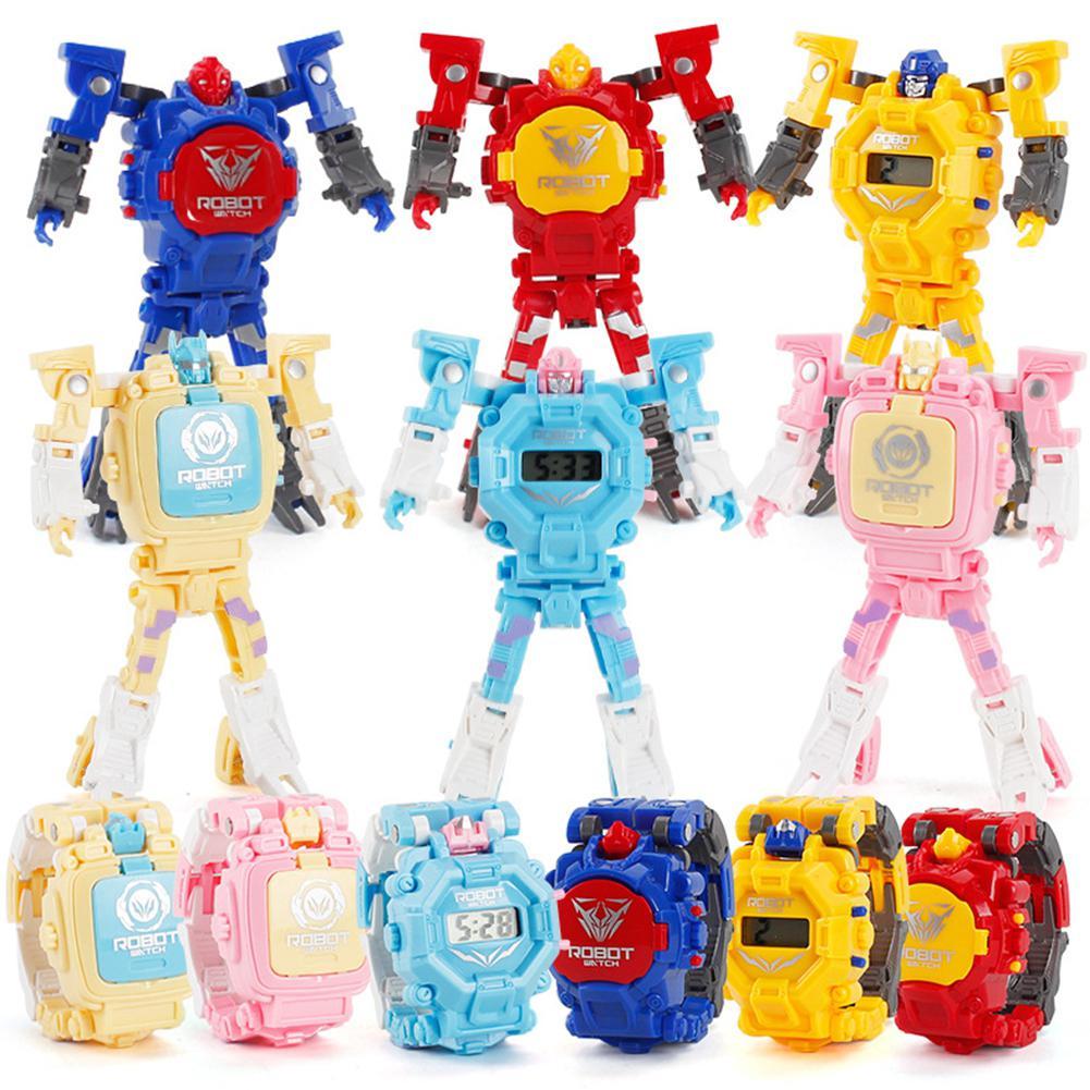 GloryStar, Robot Transformable de dibujos animados, reloj de pulsera electrónico con pantalla Digital, reloj de niño, niño, niña, juguete