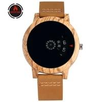 redfire mens watch creative wood watches brown genuine leather mens wristwatch new fashion wooden clock reloj masculino