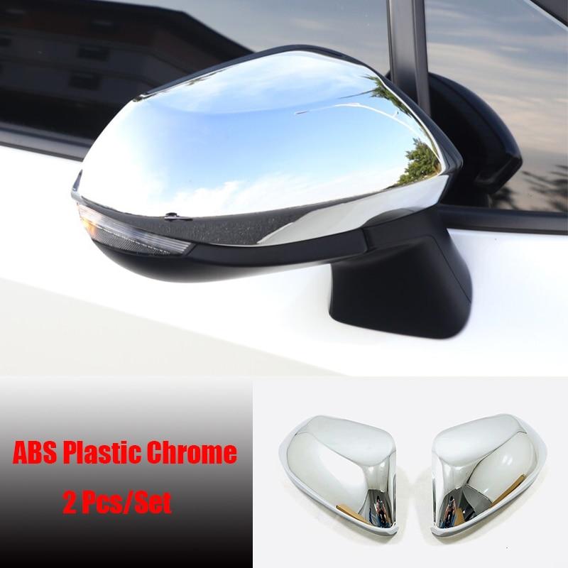 Para Toyota Yaris 2020 2021 accesorios ABS Cromo/fibra de carbono puerta lateral cubierta para espejo retrovisor Trim Cap guarnish Molding 2 uds