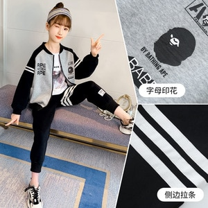 2021 girls  Boys Clothes zipper solid Color Sports Suit Teenager tracksuit strip jacket + sports pants 6 10 11 12 14 15 years